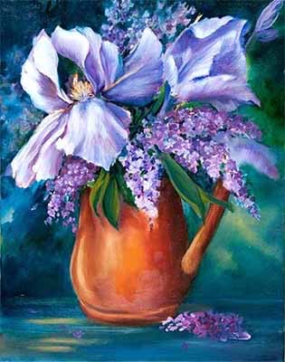 Irises in Copper Jug