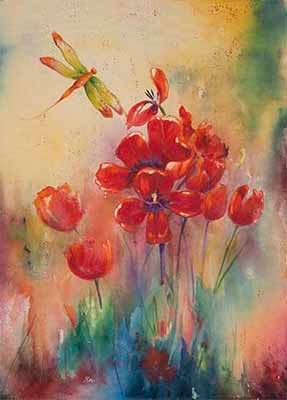 Tulips and Dragonfly